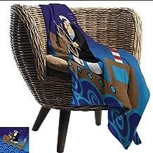 EwaskyOnline Nautical Flannel Blanket Captain on Ship with Wavy Ocean Cartoon Style Illustration Marine Adventure Design Sofa Warm Bed 84