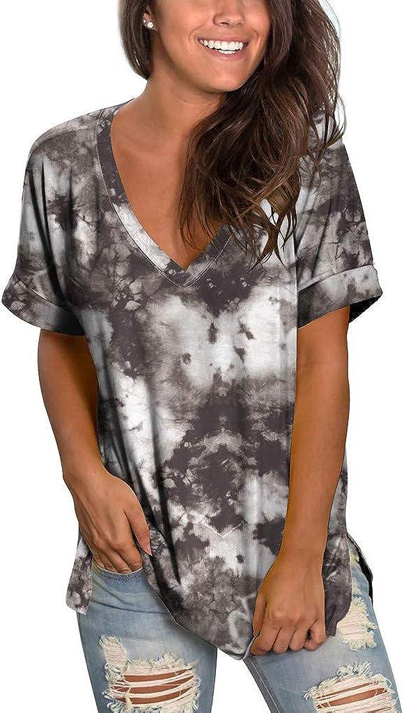 fashion t shirts Panokly Tops for Women, Womens Casual Summer V-Neck Tie Dye Print Blouse Short Sleeve Shirt Tunic Top