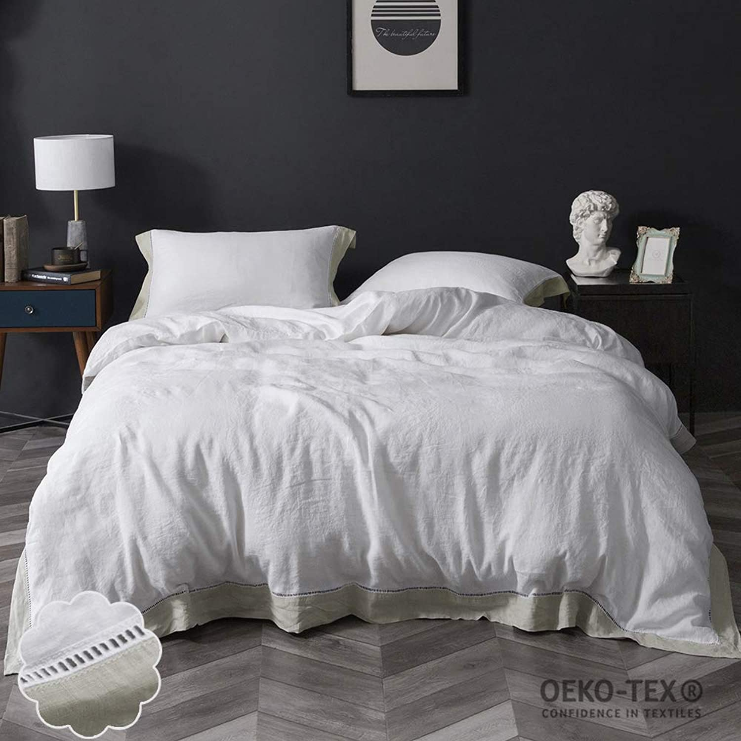 Simple&Opulence 100% Stone Washed Linen 3Pcs Hemstitch Duvet Cover Set(Queen, Linen Frame)