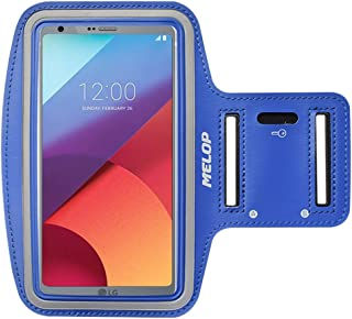 MELOP Armband for LG V40 V50 ThinQ V30 V20 V10 K40, LG G6 Q8 G7 G8 G8s ThinQ, Stylo Stylus 2 V 3 4 Plus, Professional Soft Sweat Resistant Sports Gym Arm Band with Key Holder Card Cash Pocket - Blue