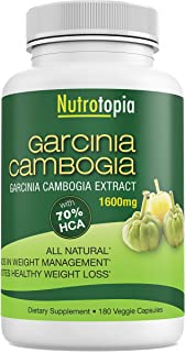 Garcinia Cambogia Extract 1600 mg 70% HCA 180 Vegan Capsule 3 Months Supply Support Natural Weight Loss by Nutrotopia