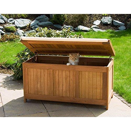 STILISTA® Gartenbank Gartenbox aus 100% FSC zertifiziertem Shorea-Hartholz, geölt, Liftautomatik, inkl. Kissen in Farbe natur, 113 x 52,5 x 60,5 cm, Auflagentruhe - 5