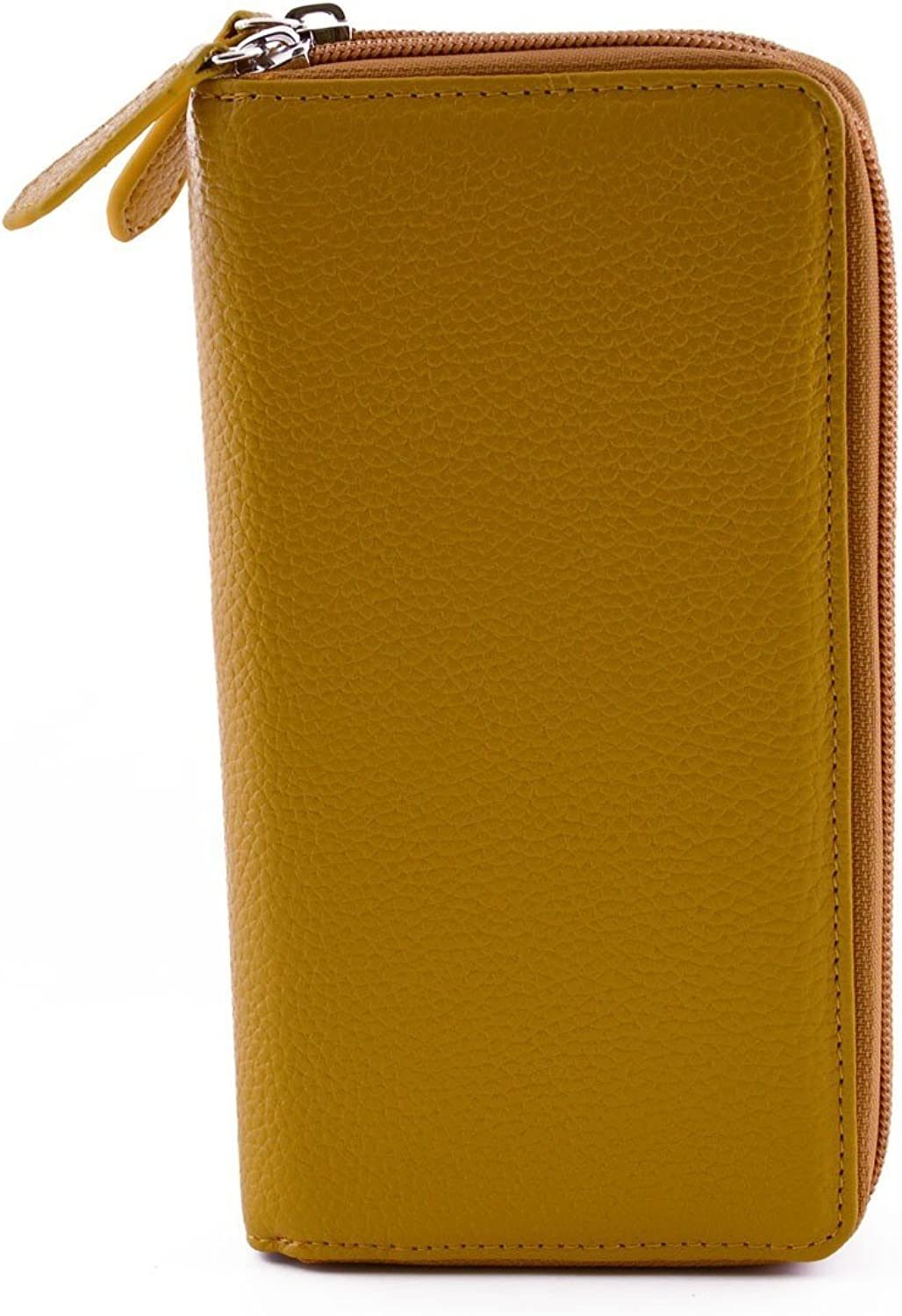 Genuine Leather Woman Wallet 2 Compartments color Yellow