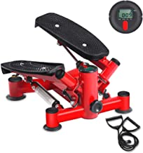 BEOUZO Fitness Stair Stepper, Mini Stepper Fitness Cardio Exercise Trainer, Adjustable Height Stepper Machine with Twisting Action, Stepper Exercises Equipment with LCD Monitor and Resistance Bands
