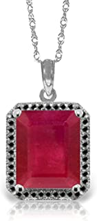 14K Solid White Rose Yellow Gold Halo Design Necklace with Emerald Cut 8.50 CTW Ruby & Natural Black Diamonds