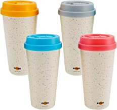 Evron Spill Proof Travel Mug with Anti-Leak Locking Lid, Insulated Double-Wall Coffee Mugs for Hot and Cold Drinks (16oz 4 Pack)