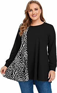 JollieLovin Plus Size Sweatshirts for Women Animal Print Pullover Patchwork Tops Long Sleeve Tunic Lightweight Winter Clothes