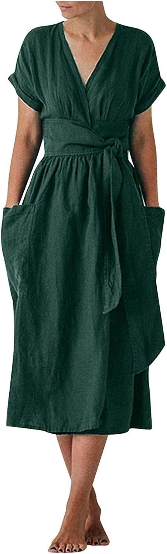 Women Dress Casual Solid V Neck Sundress Short Sleeve Skirt with Pocket Cotton Linen Hem Dresses