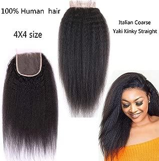 Nicewig 8A Virgin Brazilian Human Hair Lace Top Closure,Italian Coarse Yaki Curly Afro Kinky Straight Closure Bleached Knots with Baby Hair 10