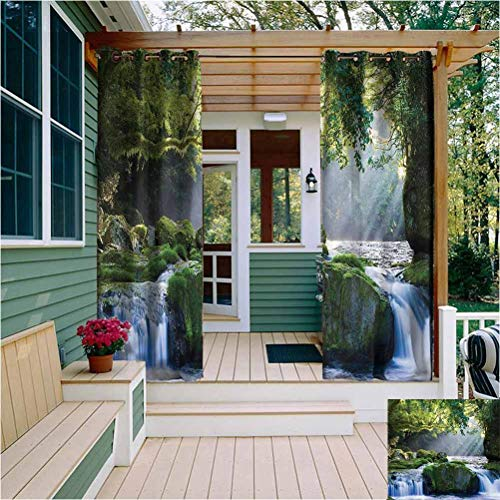 Rainforest Decor Collection Outdoor Privacy Curtain for Pergola Large Waterfall in a Forest of Green Tree Branches Vibrant Art Prints Reduce Light Blue Green White W108 x L84 Inch