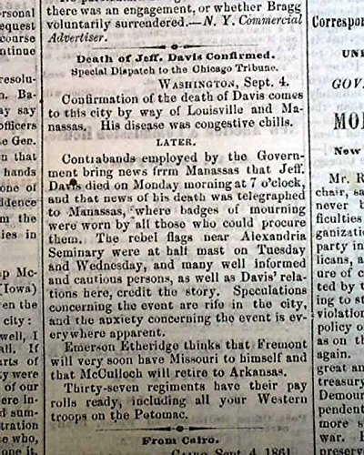Rare DAVENPORT IA Civil War Era Jefferson Davis False Death Rpt. 1861 Newspaper DAVENPORT DAILY GAZETTE, Iowa, September 6, 1861