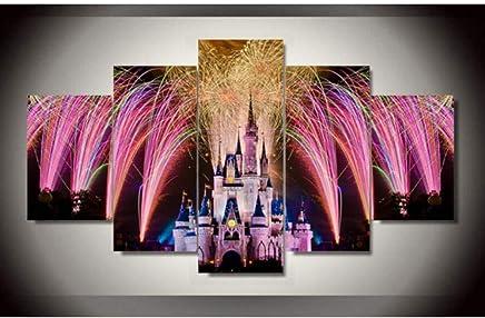 e42e11b0d4 lsscj 5 Pezzi Stampa su Tela Castello in fuochi d'artificio Dipinto su Tela  Foto