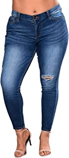 Women's Ankle Skinny Jeans,Plus Size Ripped Stretch Slim Denim Pants High Waist Trousers by-NEWONESUN