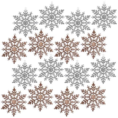 COM-FOUR® 16x Kerstboomversiering in verschillende kleuren - Kerstversiering sneeuwvlok - Kersthanger in brons en zilver (16 stuks - 13cm)