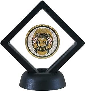 HS Challenge Coin Display Frame, 3D Floating Display Case Stand Holder, Medallion Medal Specimen Military Coin Clear Box (Black)
