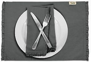 Vargottam Gray Home Décor Cotton Flex Reversible Fabric Frill Placemats Table Dining Mats-Set of 4