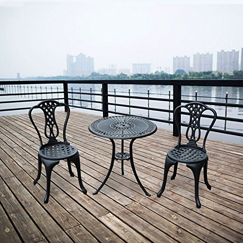 HOMCOM 3 Piece Patio Cast Aluminium Bistro Set Garden Outdoor Furniture Table and Chairs Shabby Chic Style
