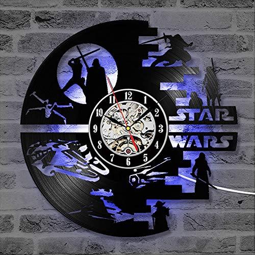 Cheemy Joint Star Wars Reloj de Pared de 12 Pulgadas LED Disco de Vinilo, Arte Interior, Regalo de cumpleaños, Colgante de Noche Creativo para 7 Noches