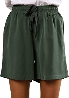 Azokoe Women Casual Elastic Waist Solid Drawstring Summer Beach Shorts with Pockets