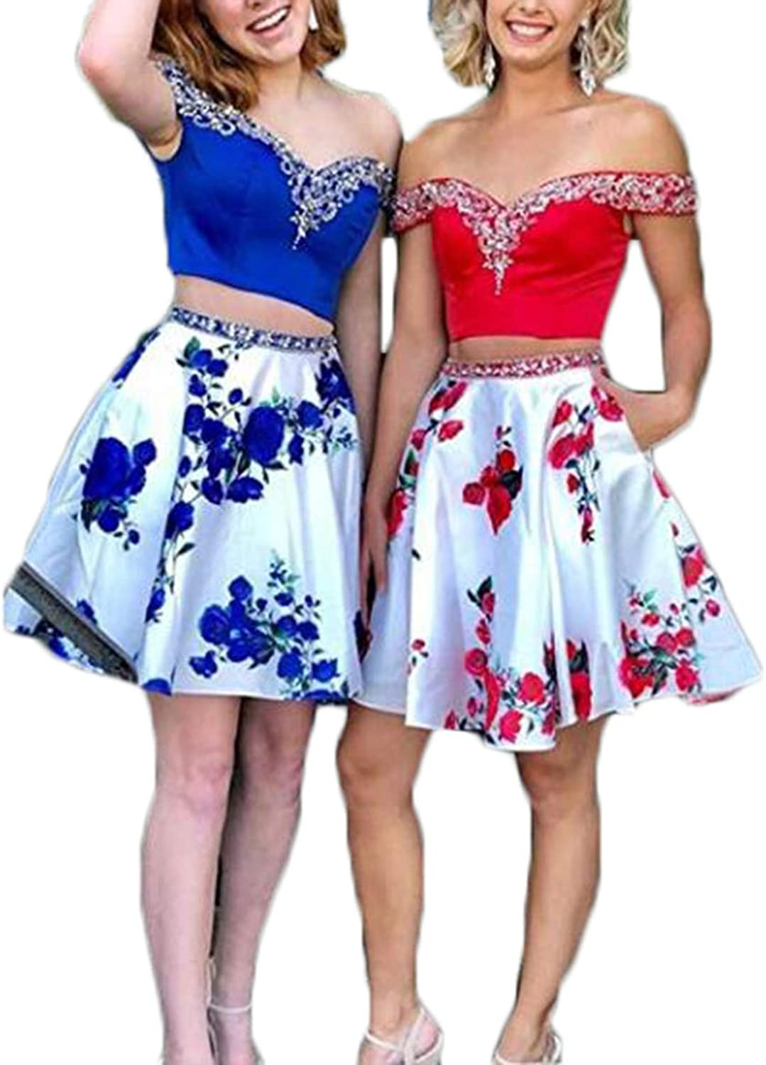 Alilith.Z Beaded 2 Piece Homecoming Dresses 2018 Short Floral Off Shoulder Prom Dresses Party Gowns with Pockets