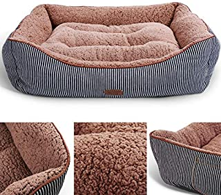 Smiling Paws Pets Washable Premium Dog and Cat Bed/Lounge with Soft Sides - Organic Cotton - A Puppy and Kitty Dream Bed
