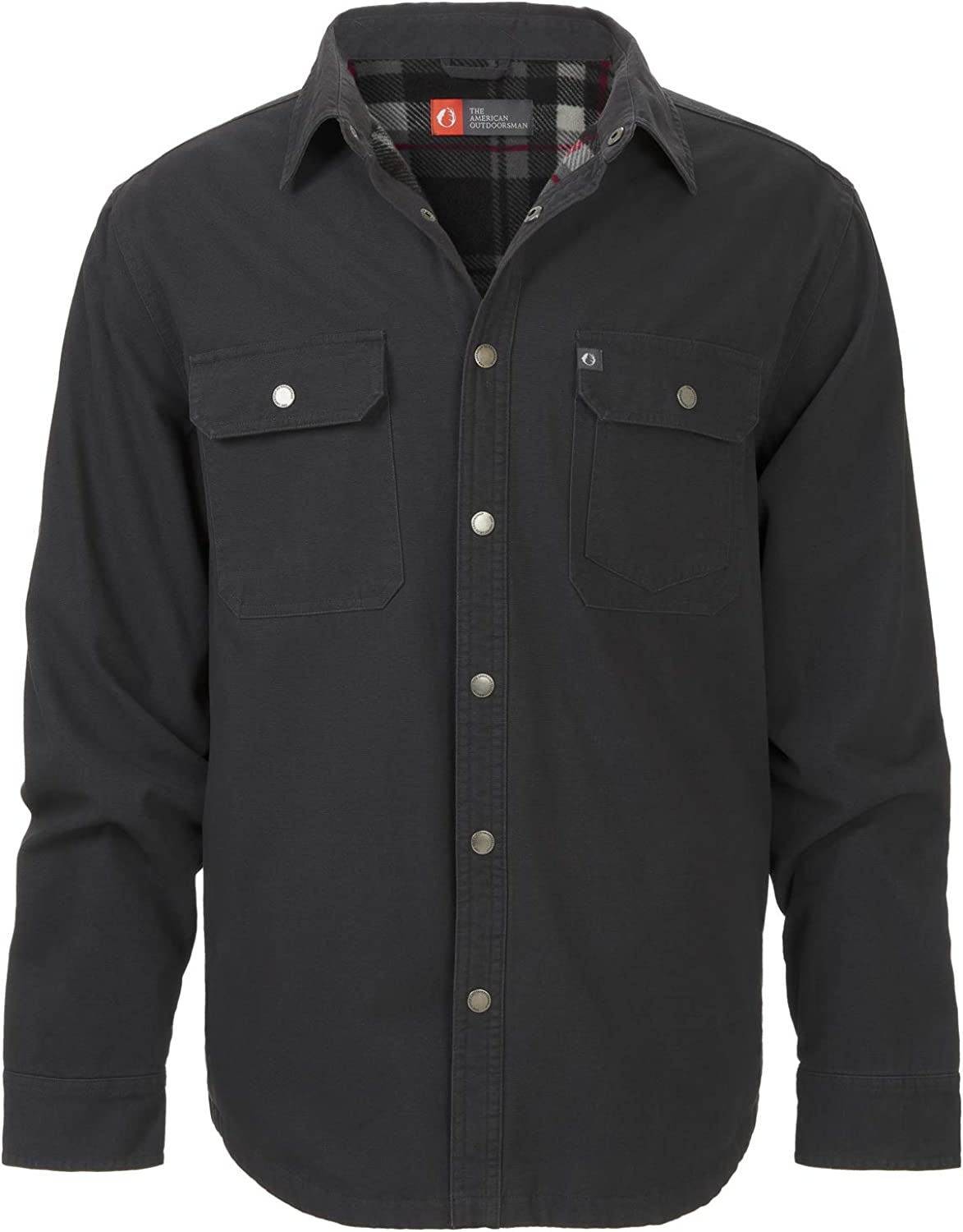 The American Outdoorsman Solid Canvas Shirt Jacket Lined with Printed Polar Fleece Lining for Hiking and Camping