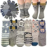 6 Pairs Cartoon Toddler Socks Boys Girls Anti-Slip Ankle Socks Baby Walkers Non-Skip Cute Animal Cotton Cozy Socks with Grip for 12-36 Months