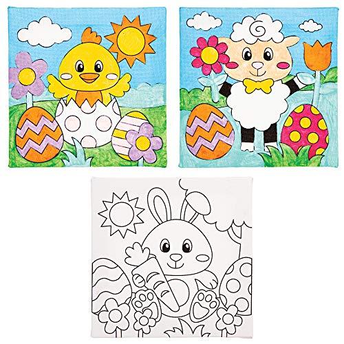 Baker Ross Ostern Leinwände Bastelset für Kinder zum Ausmalen (3 Stück) Kreativsets zum Basteln und Dekorieren zur Frühlingszeit