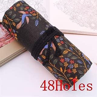 YWSCXMY-AU Cat Print Canvas Pencil Case 36/48/72 Hole Rolled Pencil Bag Portable Pencil Case (Color : Orange)