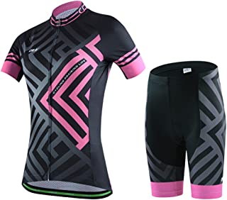 SKYSPER Ciclismo Maillot Mujeres Jersey + Pantalones Cortos Culote Mangas Cortas de Ciclismo Conjunto Ropa Equipacion 3D Gel Acolchado Transpirable Verano para Deportes al Aire Libre Ciclo Bicicleta