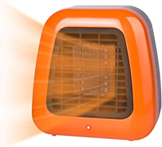 400W Portable-Mini Ceramic Space Heater for Office Desktop Table Home, ETL Listed Personal Heater with Overheat Protection and Tip-Over Protection, Orange