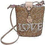 Bolso de mimbre vintage para mujer, bolso bohemio de playa de verano para mujer, bolso de perlas hecho a mano, bolso de hombro tejido