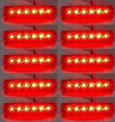 24/7Auto 10 piezas de Led 24V Rojo de lado trasero de las luces marcadoras del remolque del camión volquete Caravana chasis de autobús para