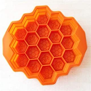 Fan-Ling Bee Honeycomb Cake Mold,Soap Mold, Silicone Flexible Chocolate Mold,Ice Cube Tray Mould. Oven Microwave Oven Dishwasher Refrigerator Safe (orange)