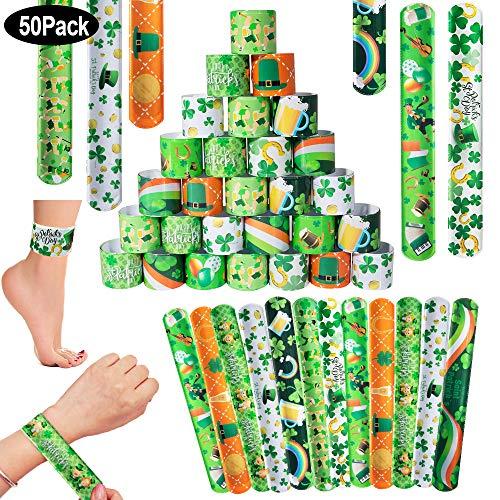 SPECOOL Braccialetti Slap, Accessori per St. Patrick's Day, per Feste Compleanno, Sfilate o Celebrazioni, Bomboniere Party Supplies Favors per per Bambini, Adult, Ragazze e Ragazzi