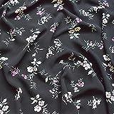 Tela decorativa por metros (lino, gasa, estampado de flores negras, 0,5 m)