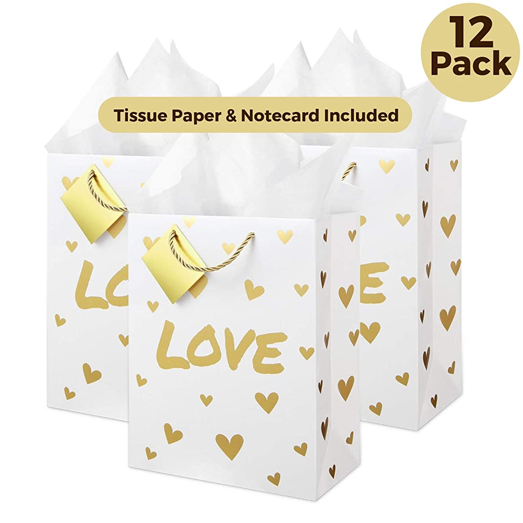 12 Large Wedding Present Bags with Tissue Paper, Metallic Gold Foil (Love Design) for Wedding Bags, Bridal Party, Bridesmaid Bags, Wedding Bags