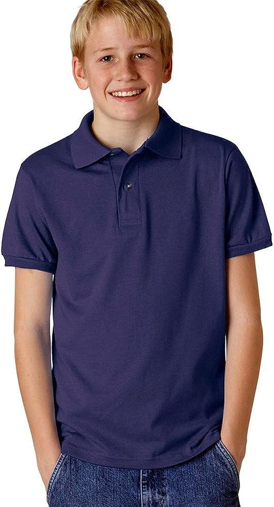 Jerzees Youth 5.6 oz., 50/50 Jersey Polo with SpotShield (437Y) DEEP PURPLE