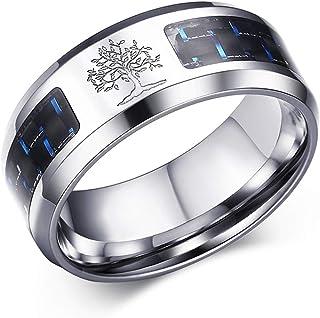 OIDEA Life Tree Charm Stainless Steel Carbon Rings Bans للرجال خواتم الزفاف، مقاس 7 إلى 12