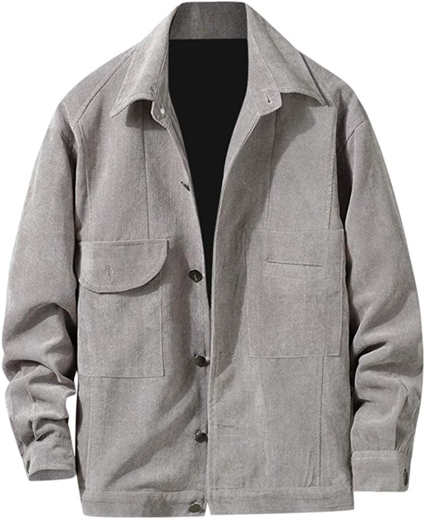 MODOQO Men's Shirts Long Sleeve Printed Fashion Casual Loose Solid Blouse Tops Button Down Shirts