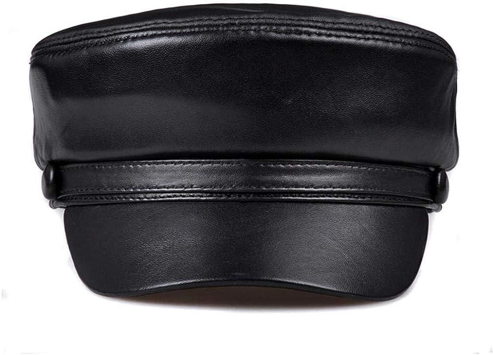 RangYR Men's Leather Cap Navy Rare Selling Flat Student