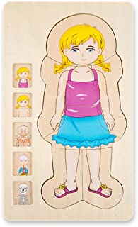 Your Body 5 layers Wooden Puzzle Girl Grow up Body Structure Jigsaw Puzzles for Toddlers