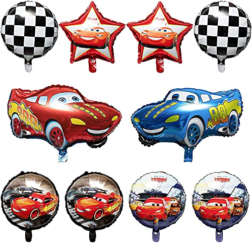 Cnarery 10 Packs Race Car Foil Balloons, Double-Sided Racing Car Checkered Balloons Party Favors Decorations Supplies for Kids Boys Birthday Party Baby Shower, Let?s Go Racing Birthday Celebration Set
