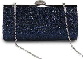 Sturdy Fashion Sequins Handbag Bridesmaid Handbags Clutch Handbag Evening Dress Clutch 285 Grams, 7 Colors Optional. Large Capacity (Color : Navy Blue)