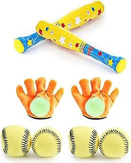 Calloy 野球セットおもちゃ おもちゃ ミニ野球セット 子供用 ボールセット キッズ ベースボール スポーツゲームおもちゃ 室内室外 3歳以上 誕生日 手袋 スポーツ トレーニング 親子ゲーム 贈り物 安全安心 (2個組)