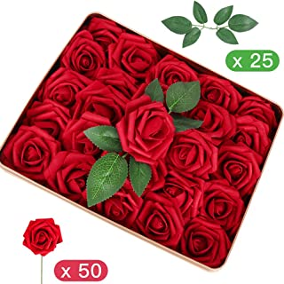 Admitrack Pack of 50 Artifiical Flowers Real Looking Artificial Roses Fake Roses for DIY Wedding Bridal Bouquets Centerpieces Arrangements Party Cake Baby Shower Home Decorations (Dark Red)