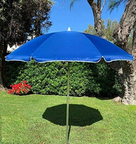 GLOBOLANDIA Ombrellone Blu Alluminio da 220 cm 8 Stecche in Acciaio galvanizzato con Snodo per la Reclinazione palo da 35 mm Parasole per Spiaggia Giardino e Balcone