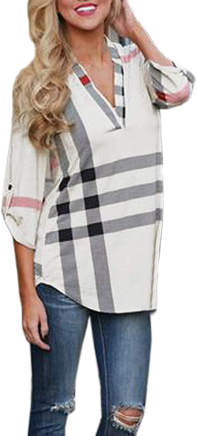 AELSON Women's 3 4 Sleeve Casual Plaid Shirt Blouse Tops White