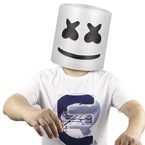 Top 10 DJs Marshmello Helmet Music Festival Marshmallow Head Mask Novelty Costume Party Rubber Latex Mask