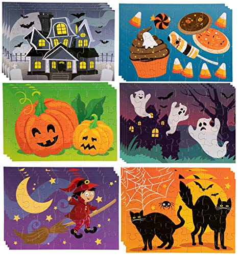 Jigsaw Puzzles - 36-Pack 28-Piece Halloween Themed Puzzles for Toddlers, Kids Toy Puzzles, Halloween Party Favor, Age 3 to 5, 6 Assorted Designs, 5.5 x 8 Inches